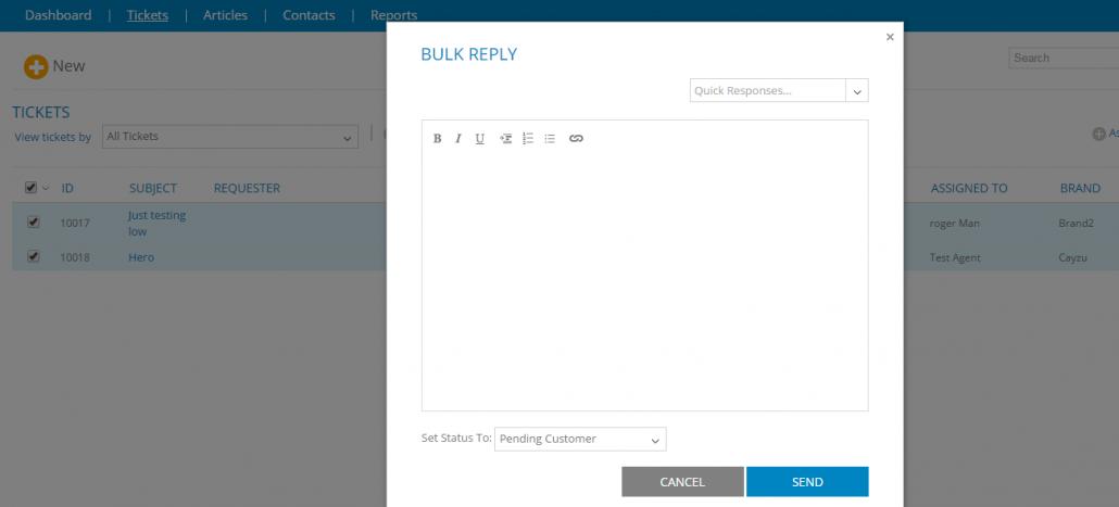 Bulk Reply - Cayzu Help Desk