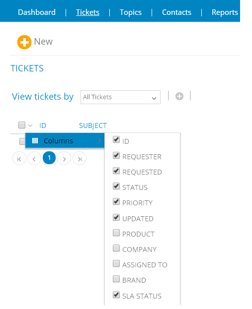 Customize your ticket grid by selecting the columns to display