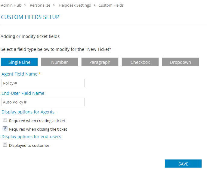 Help desk custom fields