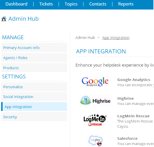 Google Analytics Cayzu Help Desk Integrations