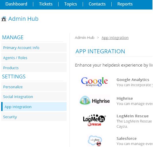 Google Analytics Cayzu Help Desk Integrations