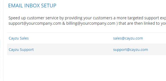 cayzu helpdesk-email inbox setup screen
