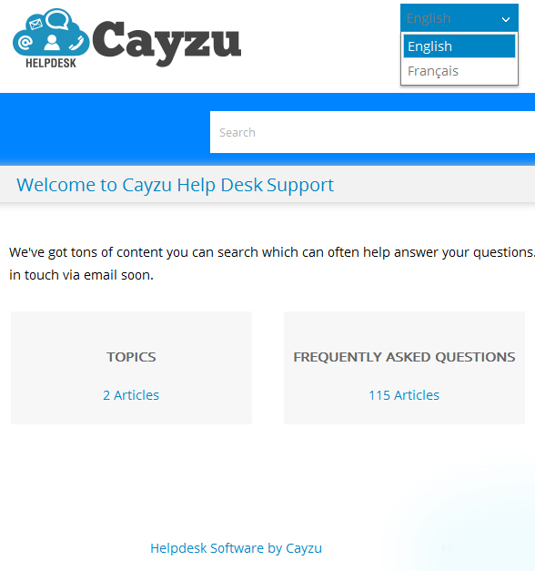 Cayzu Helpdesk customer support dashboard