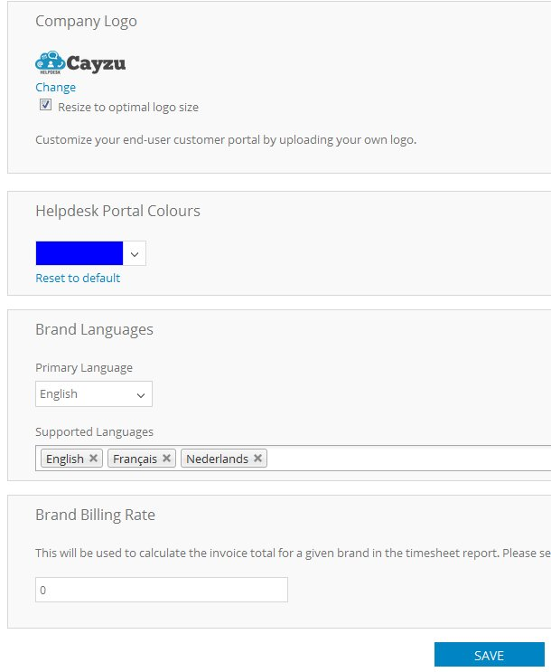 Cayzu Helpdesk mulit language settings