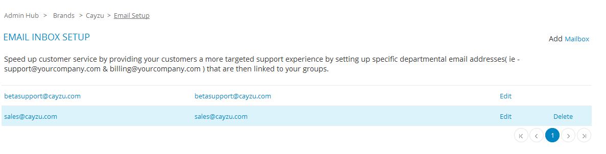 Multiple Maiboxes support  - Cayzu Help desk