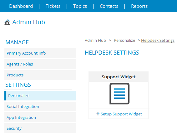 Support widget -add help desk support to your web site