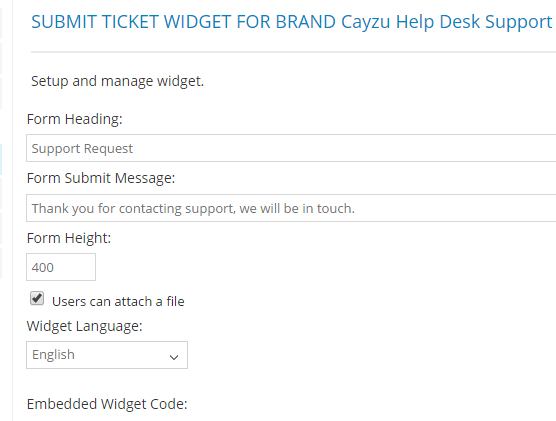 Submit Ticket Widget Fro Brand Cayzu Helpdesk support