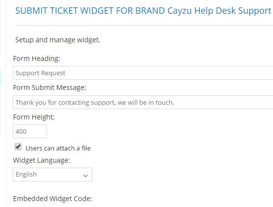 Submit Ticket Widget Fro Brand Cayzu Helpdesk support