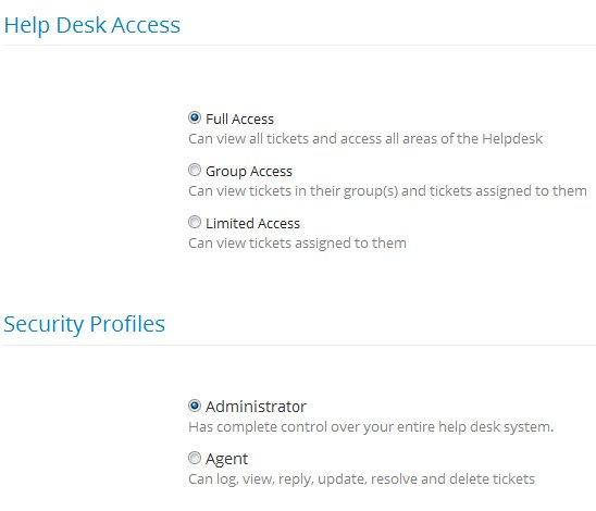 Cayzu Helpdesk agent access settings
