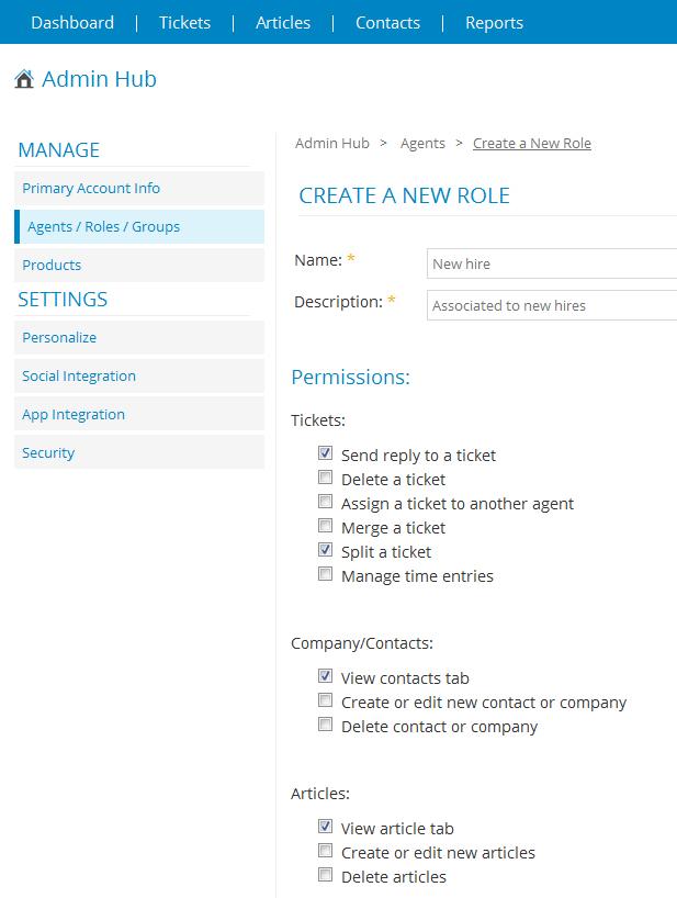 Cayzu Helpdesk create a new role settings